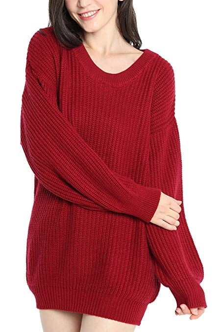 Liny Xin Women's Cashmere Oversized Loose Knitted Crew Neck Long Sleeve Winter Warm Wool Pullover Long Sweater Dresses Tops – Best Online Women's Clothing Stores