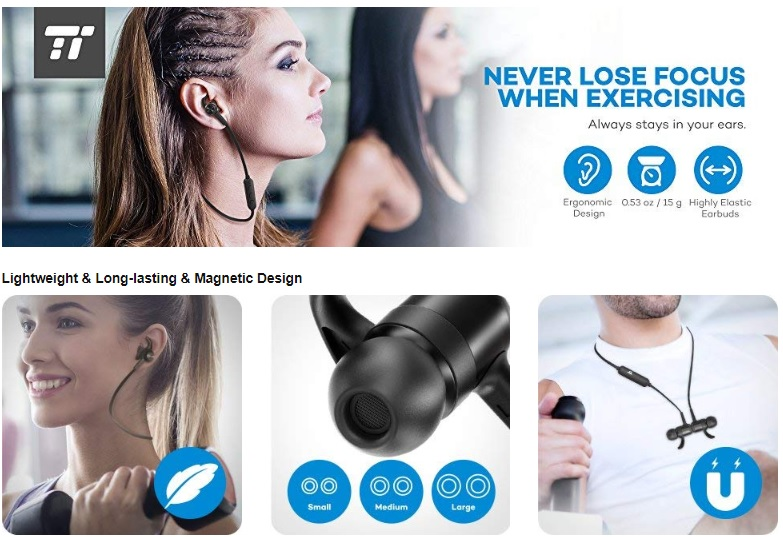 Bluetooth headphones TaoTronics Wireless Earbuds Sport eri phone- Taotronics Bluetooth Adapter