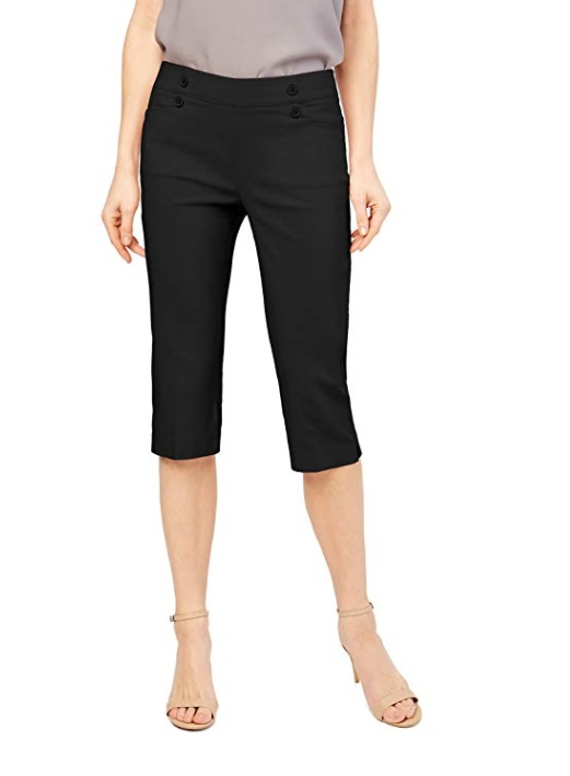 89th + Madison Women's Button Front Easy Fit Capri –  Trendy Clothes for 40 year old woman